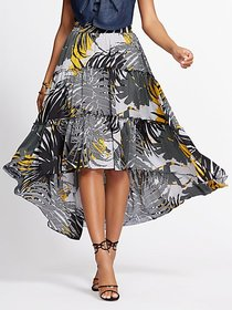 Graphic-Print Hi-Lo Tiered Skirt - Gabrielle Union