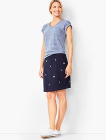 Talbots Embroidered-Umbrella Terry Skort