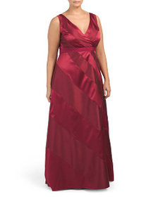 ADRIANNA PAPELL Plus Sleeveless V-neck Gown