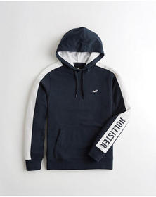 Hollister Relaxed Colorblock Logo Hoodie, NAVY