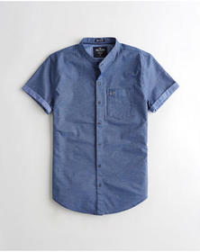 Hollister Stretch Oxford Muscle Fit Shirt, BLUE PA
