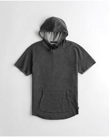 Hollister Relaxed Short-Sleeve Terry Hoodie, DARK