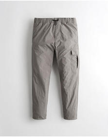 Hollister Crop Taper Nylon Pants, GREY