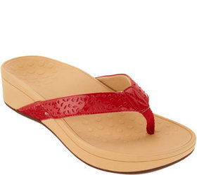 """""""As Is"""" Vionic Perforated Platform Thong Sandals-"""