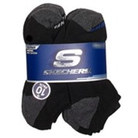 SKECHERS Mens 10-Pair Pack No-Show Ankle Socks