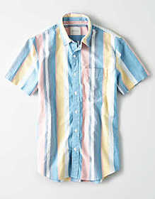 American Eagle AE Short Sleeve Oxford Button Up Sh