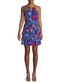 Parker Floral Ruffle Halter Mini Dress VALENCIA