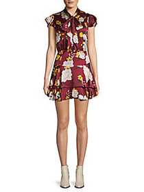 Alice + Olivia Lashay Floral Tie-Neck Mini Dress R