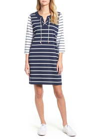 Tommy Bahama Floricita Lace-Up Stripe Shift Dress