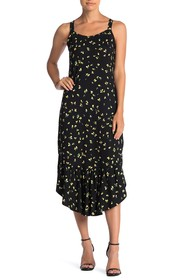 Ella Moss Mina Lemon Print Flounce Midi Dress