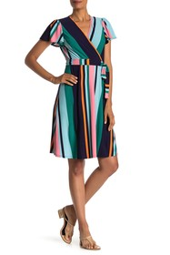 Donna Morgan V-Neck Stripe Print Wrap Dress