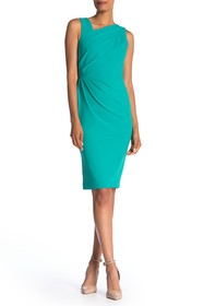 Calvin Klein Asymmetrical Neck Side Ruched Dress