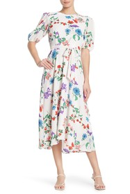 Donna Morgan Floral Bubble Sleeve Crepe High/Low M
