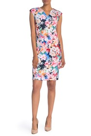 T Tahari V-Neck Floral Scuba Dress