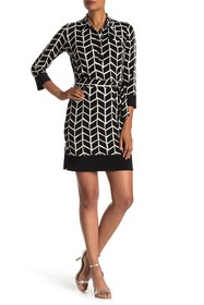 Donna Morgan Long Sleeve Print Waist Tie Jersey Dr