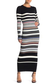 Ella Moss Peyton Striped Long Sleeve Sweater Maxi