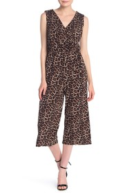T Tahari Sleeveless Surplice Neck Leopard Jumpsuit