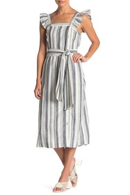 Ella Moss Stacy Striped Button Linen Blend Midi Dr