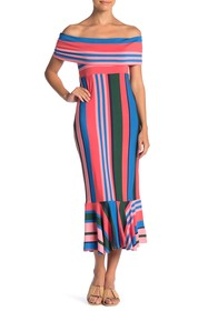 Ella Moss Nora Striped Off-the-Shoulder Midi Dress