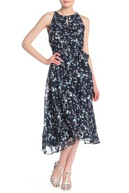 Tahari Sleeveless Printed Chiffon Midi Dress