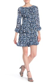 Tahari Printed Chiffon Mini Floral Dress
