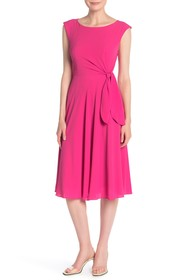 Tahari Stretch Pebble Crepe Fit & Flare Dress