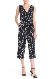 T Tahari Sleeveless Wrap Dot Printed Jumpsuit