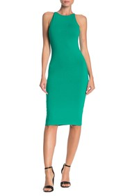 PLANET GOLD Scoop Neck Bodycon Midi Dress