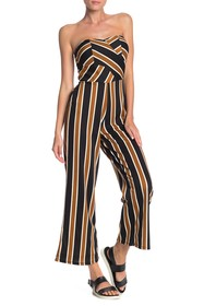 PLANET GOLD Foam Cup Striped Bandeau Jumpsuit