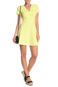 PLANET GOLD Short Sleeve Twist Front Skater Dress