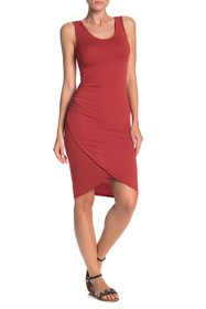 PLANET GOLD Sleeveless Ruched Tulip Hem Dress