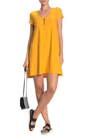 PLANET GOLD Cap Sleeve V-Neck Trapeze Dress
