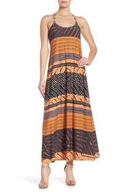 Donna Morgan Geo Print Metallic Strap Maxi Dress