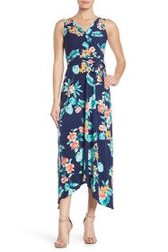 Donna Morgan Floral Surplice Sleeveless Midi Dress