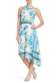 Donna Morgan Floral Stripe Chiffon High/Low Midi D