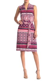 Donna Morgan Printed Sleeveless Jersey Shirt Dress