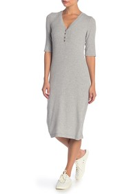 Splendid Heathered Henley Midi Dress