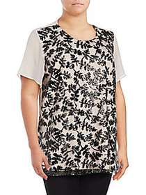 Vince Camuto Plus Short Sleeve Sequined Embroidere