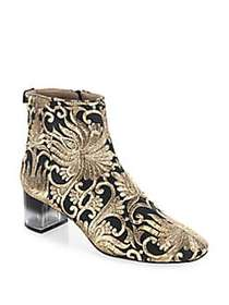 Tory Burch Carlotta Embroidered Booties BLACK GOLD