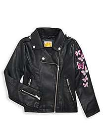 C&C California Girl's Butterfly-Embroidered Moto J