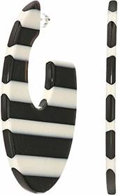 """Kenneth Jay Lane 1 3/4"""" Black and White Striped Re"""