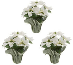 "Set of (3) 18"" Faux Poinsettia Plants by Valerie -"