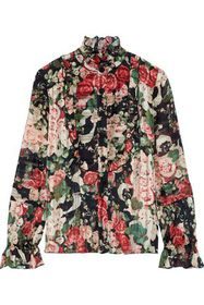ANNA SUI Ruffle-trimmed floral-print burnout satin