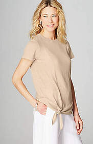Linen-Knit Side-Tie Top