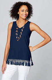 Cotton & Linen Tassel-Trim Knit Tank