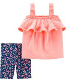 carters Baby Girl 2-Piece Neon Tank & Floral Tumbl