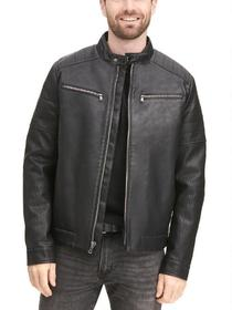 Designer Brand Tab Collar Cycle Faux-Leather Jacke