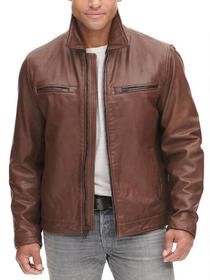 Designer Brand Leather Patch Pocket Jacket