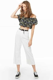Forever21 Foliage Print Crop Top