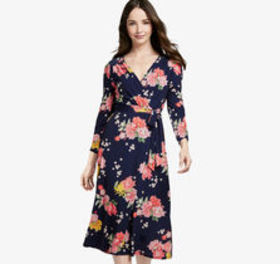 Johnston Murphy Floral Knit Faux-Wrap Dress